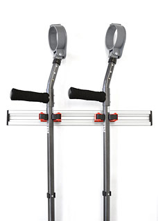Wall-mountable crutch/cane holder with 2 EZ grips