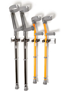 Wall-mountable crutch/cane holder with 4 EZ grips